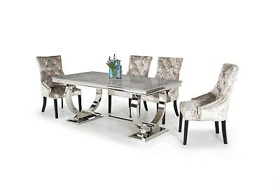 a9b01af4a2ca Rani Grey Marble & Chrome `O` 180CM Dining Table + Ava Crushed Velvet Chairs