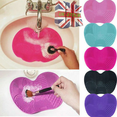 UK Silicone Makeup Brush Cleaner Mat Cleaning Cosmetic Scrubber Board Pad Tool