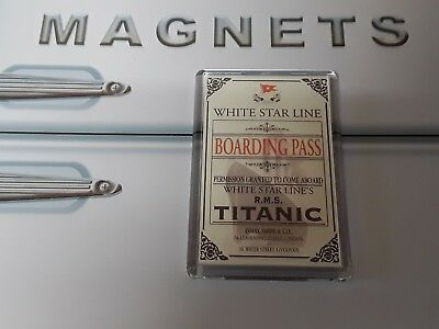 Titanic Boarding Pass Fridge Magnet. Replica of the ticket design (1912)