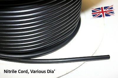 Metric Nitrile Rubber 'O' Ring Cord Oil & Fuel Resistant Sold Per Meter