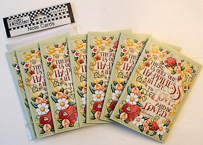 """Mary Engelbreit Valentine Note Cards & Envelopes """"There is only one happiness"""""""