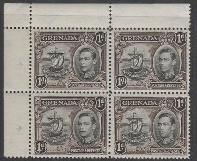 GRENADA KGVI 1938 Issue 1d SG154aa Line on Sail in Never Hinged Block cv £173