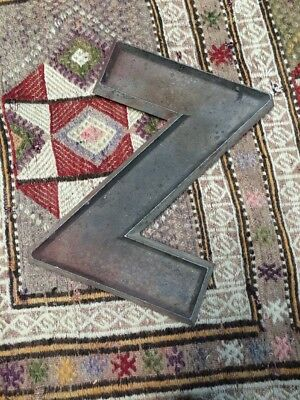 "Adler Sign Letter Co Vintage Marquee Cast Metal Aluminum ""Z"" 12"""