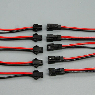 JST 2.54 SM 2-Pin 2P Connector plug Male / Female with 24AWG Wires Cables Lot
