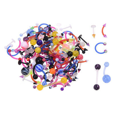 120x Mix Flexible Nose Navel Tongue Ear Piercing Bar Barbell Body Jewelry SS