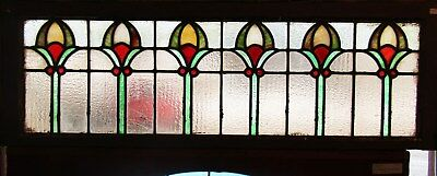 ANTIQUE ARTS AND CRAFTS STAINED GLASS WINDOW 15 by 44