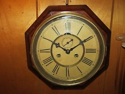 Antique Ansonia Octagon Ships Lever Wall Regulator With Seconds Dial. Running.