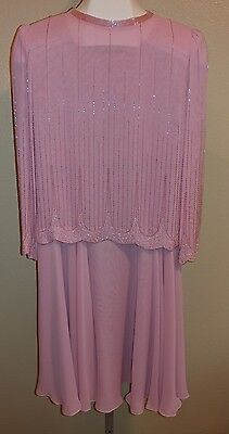 Ciao Petites MOB Women's 6p Formal 2 Pc Dress Beaded Pink 6 S Made in Hong Kong