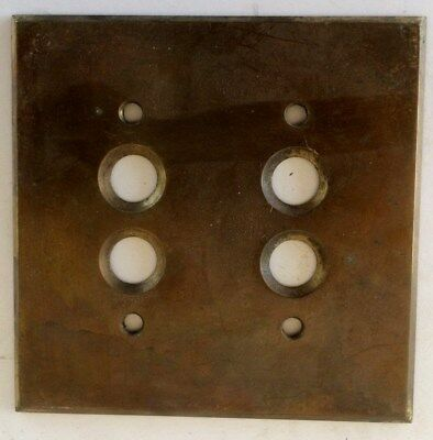 Antique Perkins, Double Gang, SOLID Brass Push Button Switch Plate Cover