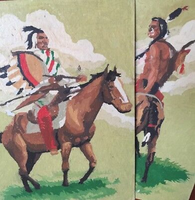 Two Vintage Oil Paint By Number Native American Indians On Horses Fabulous Look!