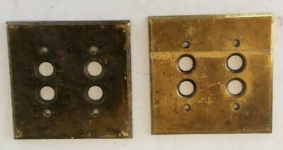 Antique Perkins, Double Gang, Brass Push Button Switch Plate Cover