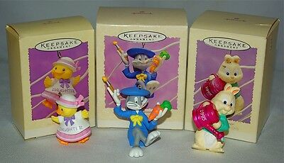 LOT 3 HALLMARK Keepsake RETIRED Ornament Easter DAUGHTER Bugs Bunny LOONEY TUNES