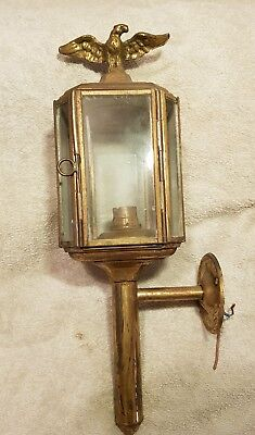 Stunning Antique Brass Horse Carriage Light Lamp German Eagle Converted Electric