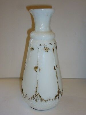 Antique Milk Glass Tall Pear Shaped Vase Hand Painted Gold