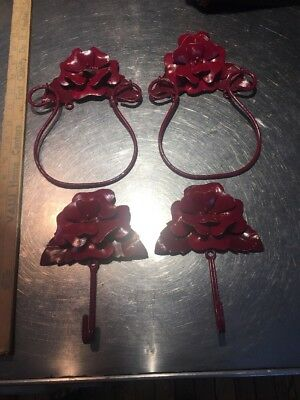 Vintage Shabby Chic Cabbage Rose Metal Tole Painted Towel Rings & Hooks Set