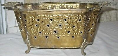 Vintage Solid Brass Footed Bowl Dinner Table Centerpiece Floral Brass Handles