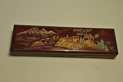 "Antique Japanese Lacquer Wooden Hand Painted Pencil 9"" Box"