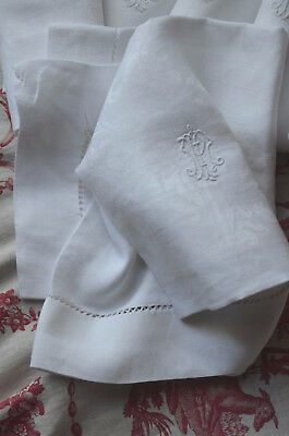 "5 antique French pure damask linen napkins, 24"" square, embroidered MP monograms"