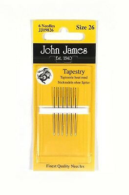 John James Tapestry Needles 26 Blunt Point for Canvas Set of 6