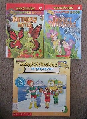 3 Magic School Bus Book #11 Insect Invaders #16 Butterfly Battle & In The Arctic