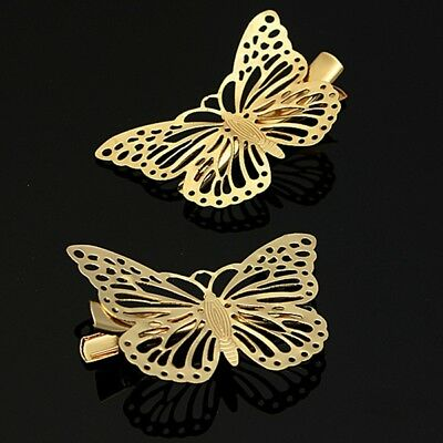 Gold Butterfly Hair Clips Grips Pins Slides For Women Girls Bride Wedding Bridal