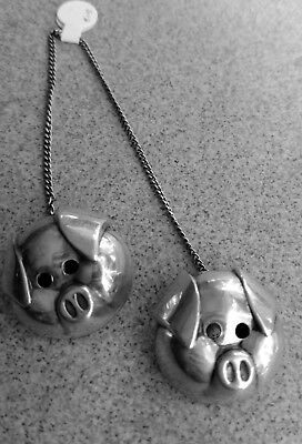 Antique Pair  Sterling Silver Baby Bib Clips 3d Robbins marked pig faces