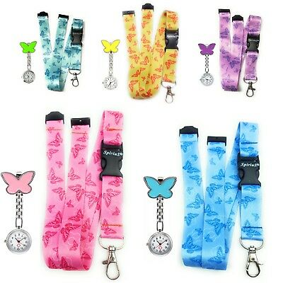 Neck Strap Lanyard for id badge Holder Spirius + Butterfly Fob Nurse Watch