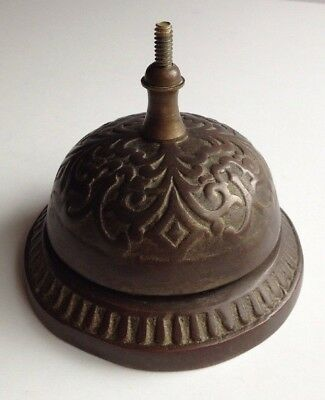 Vintage Antique Cast Brass Bell Metal Ornate Store Counter Service Bell
