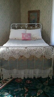 Antique Full Size White Paint Wrought / Cast Iron Bed w/Cone Rails