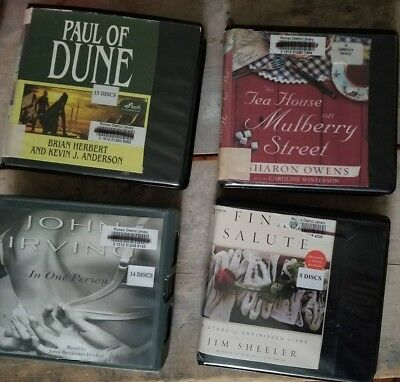 Lot of 4 AUDIO BOOK CD's Paul of Dune John Irving The Tea House on Mulberry St