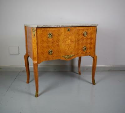 Antique Style French Louis Parquetry Inlaid Two Drawer Chest Marble Top