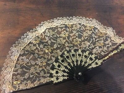 1950s Vintage Filigree Celluloid Hand Fan, Golden Highlights, Cream & Gold Lace
