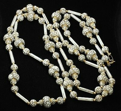 """Vintage Chinese Export LONG Art Deco Era Painted Gold Flowers Bead Necklace 49"""""""
