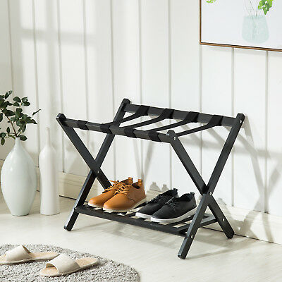 Wood Suitcase Luggage Rack Folding Baggage Travel Storage Shoe Shelf Stand Black