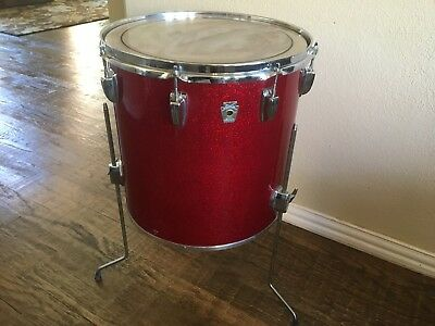 "1980's Ludwig 16"" Red Sparkle Floor Tom Drum- Keystone Badge"