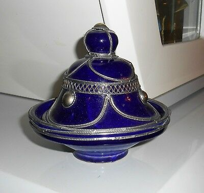 Moroccan Fez Pottery Domed Bowl Cobalt Dish W Lid Metal Filigree Silver Nickel