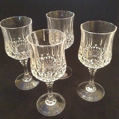 J.G. Durand Cristal d'Arques Longchamp Water Glass/Tall Wine 7 1/4 inch set of 4