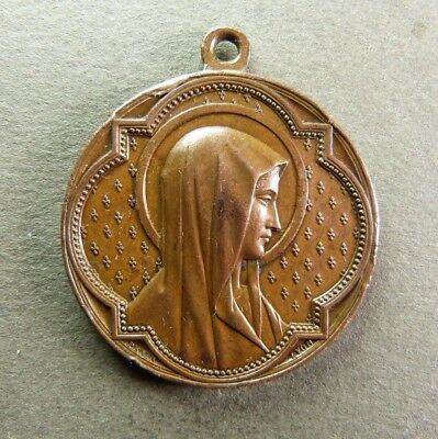 French Antique Religious Copper Pendant Medal Virgin Mary by PENIN 19th c