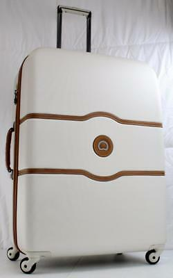 """Delsey Chatelet 28"""" Hardside Spinner Trolley Suitcase Angola White"""