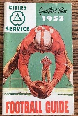 """1953 """"cities Services Oil Co.""""~Grantland Rices College & Nfl Football Guide"""