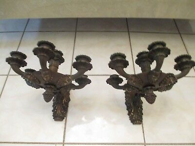 OLD ANTIQUE FRENCH WALL BRONZE SCONCES PAIR ( WOMAN FACE ).c 1800
