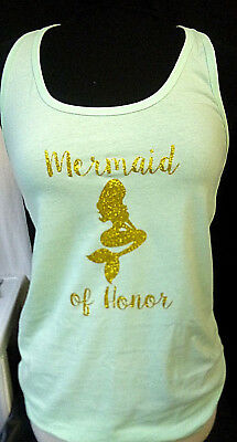 Gold Glitter Mermaid Tank Ideal Racerback Tank Top Bridal Party Maid Of Honor
