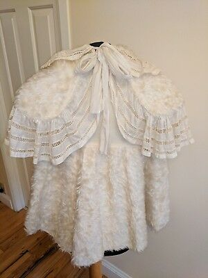 Child's Antique Edwardian Victorian Faux Fur dress coat and shawl Good condition