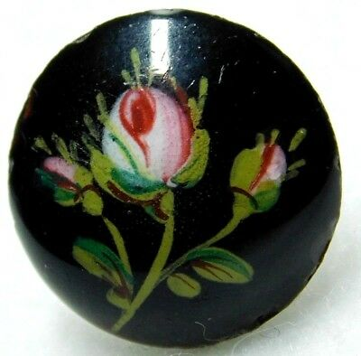 ANTIQUE Victorian Hand Painted ENAMEL BUTTON ROSE Buds 11/16