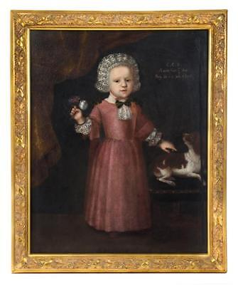 RARE Original 17th Century Portrait Painting of a Noble Girl in Fancy Dress