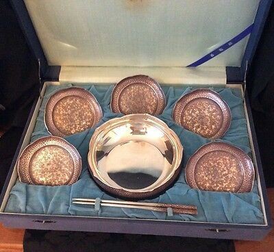 Antique Japanese Matsuya Sterling SILVER lotus shape bowl plates chopsticks 1930