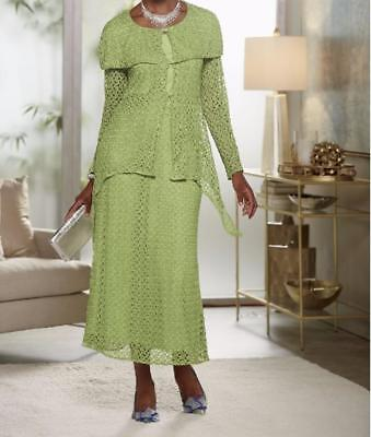 Formal Wedding Dinner Party Church Green Lace Skirt Suit Ashro 6 8 10 20W PLUS