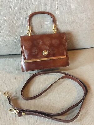 Vintage Embossed Leather Gadino Handbag Made in Italy Removable Crossbody Strap