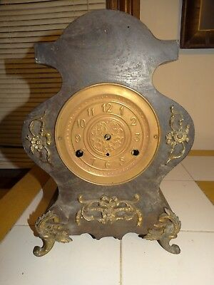 Antique Victorian New Haven Cast Iron Mantle Clock Ornate Brass Footed