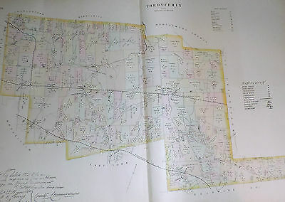 Tredyffrin Township Chester County 1883 Map Color Genuine Antique Pennsylvania